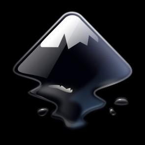 Een zwarte inktvlek of een berg. Dit is het logo van Inkscape