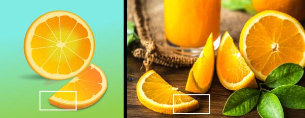 Sinasappelsap in een glas en schijfjes sinasappels. Links een tekening, rechts een foto
